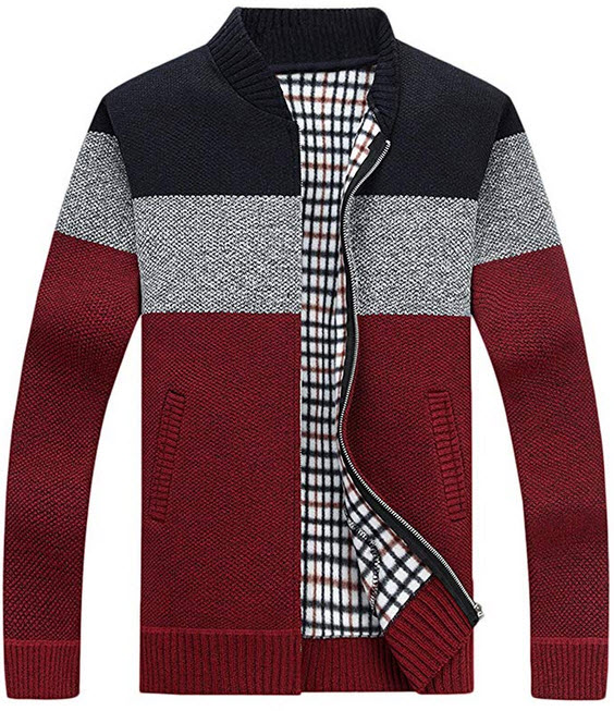 HOW'ON Men's Casual Wide Stripes Zipper Knitted Cardigan Sweater 2-blue