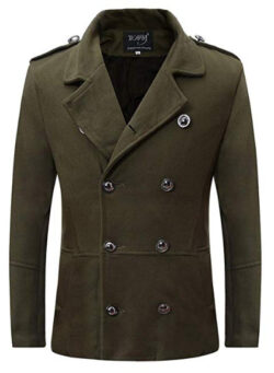 HTHJSCO Mens Stylish Fashion Classic Wool Double Breasted Pea Coat