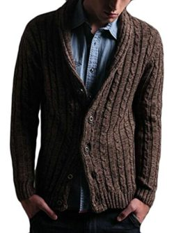 HTOOHTOOH Mens Autumn Cable Knit Shawl Collar Cardigan Style Sweater