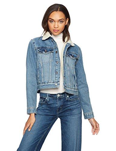 Hudson Jeans Women's Georgia Denim Jacket With Sherpa Lining