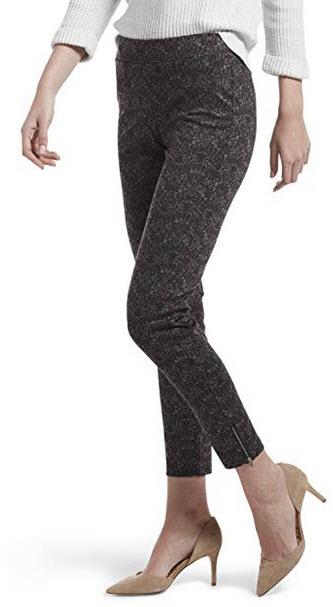 HUE Womens Loafer Skimmer Legging Assorted Ankle Zip Brocade – Beet Red