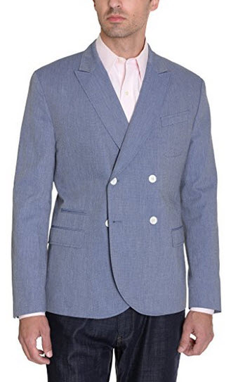 Hugo Boss Russel Slim Fit 40R Blue Chambray Double Breasted Cotton Blazer.