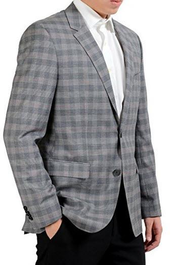"Hugo Boss ""The Coast_US"" Men's Plaid Two Button Blazer Sport Coat US 40R IT 50R."