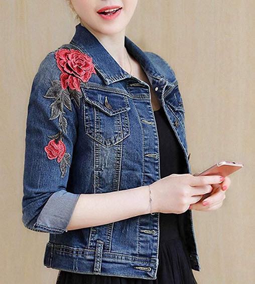 Huiwa Womens Denim Jacket Embroidery Floral Long Sleeve Jeans Coat Skinny Jacket, blue