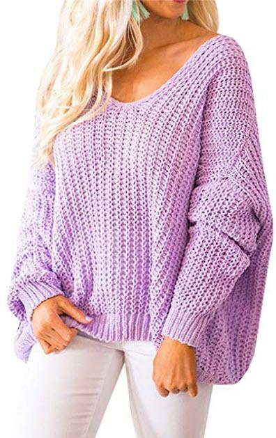 Huiyuzhi Women's Oversized Pullover Sweaters Off Shoulder V Neck Batwing Sleeve Loose Knit ...