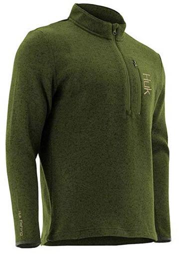HUK Men's Channel 1/4 Zip Fleece Long Sleeve Shirt military olive drab