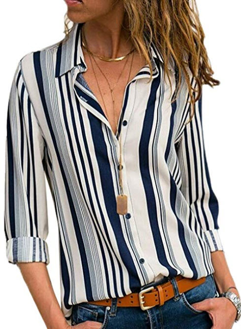HUUSA Womens Long Sleeves Blouses V Neck Button up Blouse Shirts Work Casual Striped Color Block ...