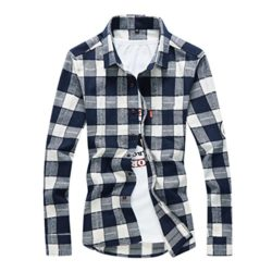 WSPLYSPJY Mens Fashion Flannel Button Down Plaid Dress Shirts