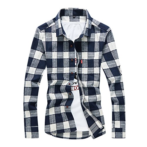 Hzcx Fashion Men's Classical Flannel Fleece Plaid Long Sleeve Button Down Shirts