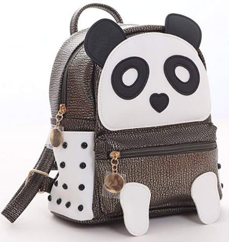 I IHAYNER Girls Fashion PU Leather Panda Book Bag Rivet Women Mini Casual Style Panda Backpack b ...
