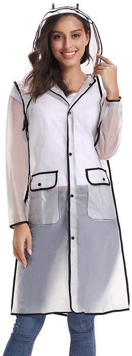 iClosam Women Waterproof Raincoat Portable Rain Poncho Packable Lightweight Hooded Long Rainwear ...
