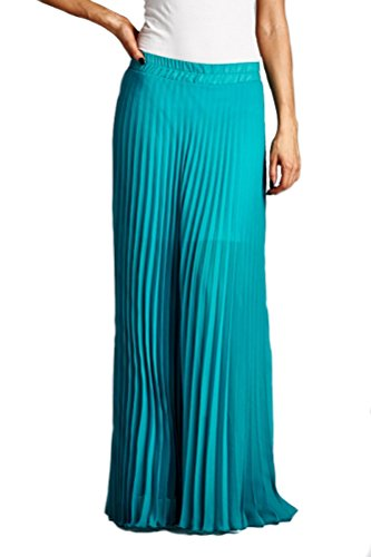 iconic luxe Women's Pleated Chiffon Maxi Skirt