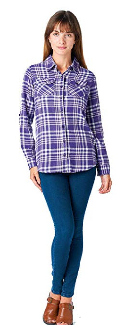 ICONICC Women's Long Sleeve Casual Plaid Flannel Shirts 66a