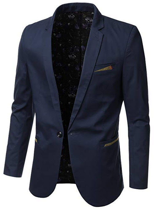 IDARBI Mens Slim Fit Casual Buttoned Blazer Suit Jacket navy