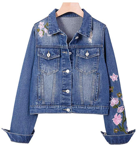 IDEALSANXUN Women's Embroidered Distressed Loose Short Denim Jacket, blue