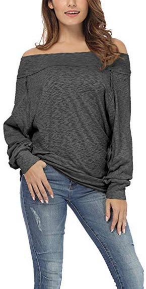 iGENJUN Women's Dolman Sleeve Off The Shoulder Sweater Shirt Tops dark grey