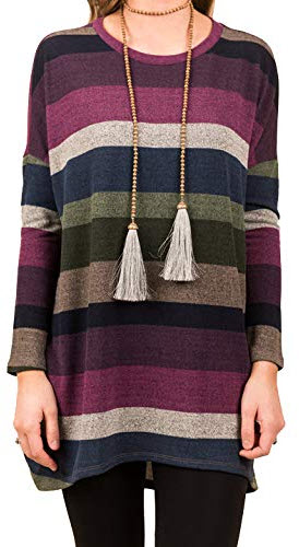 iGENJUN Women's Long Sleeve Casual Loose Striped Tunic with Pockets aw-5