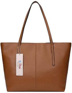 Ilishop Leather Handbag for Women Large Shoulder Bag, brown