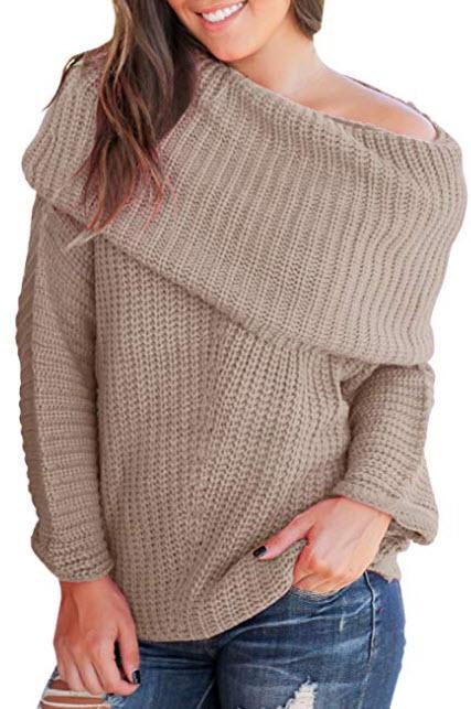Imily Bela Womens Off The Shoulder Sweater Cowl Neck Pullover Long Sleeve Oversized Jumper, khaki