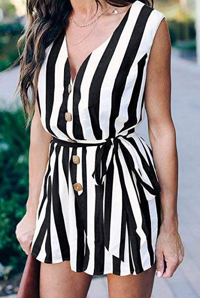 Imily Bela Womens Striped V Neck Summer Jumpsuits Tank Short Button Romper Playsuit, black