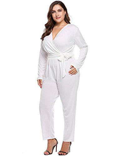 IN'VOLAND Plus Size Women Sexy V-Neck Wrap Top Long Sleeve Club Cocktail Knit Jumpsuit Rom ...