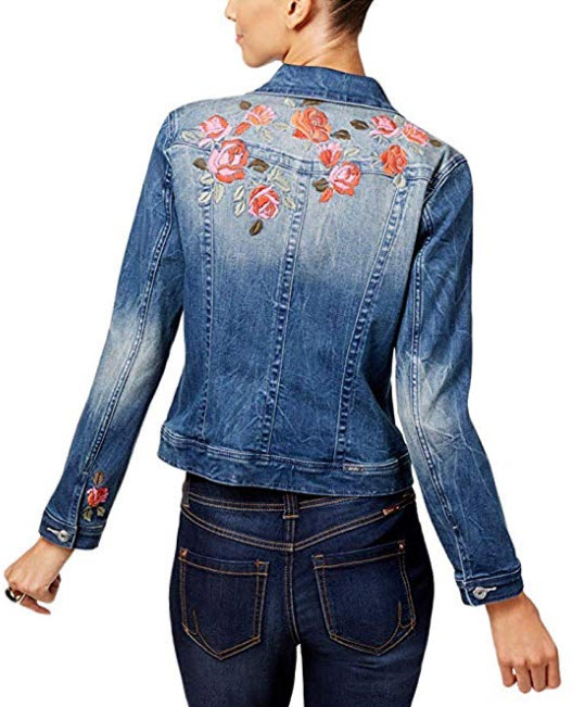 INC International Concepts Embroidered Denim Jacket, Indigo Size PET/MED
