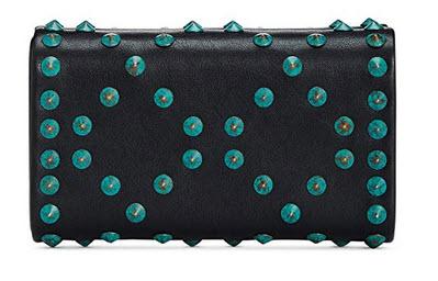 INC Womens Flaviee Turquoise Studded Mini Clutch Handbag Black Small