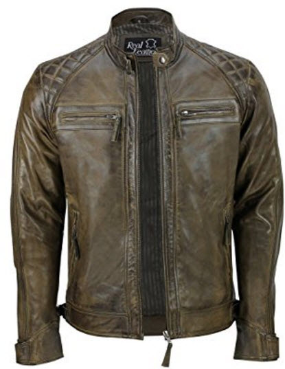 Infinity Men's Retro Quilted Real Nappa Leather Jacket