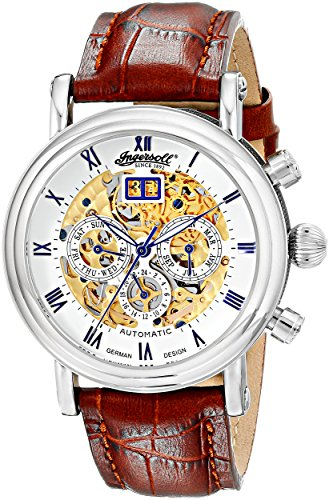 "Ingersoll Men's IN2700WH ""Gandhi"" Stainless Steel Automatic Watch with Brown L ..."
