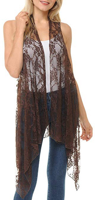 Innerest Basico Women's Open Asymmetrical Hem Print Chiffon Vest Cardigan, floral brown