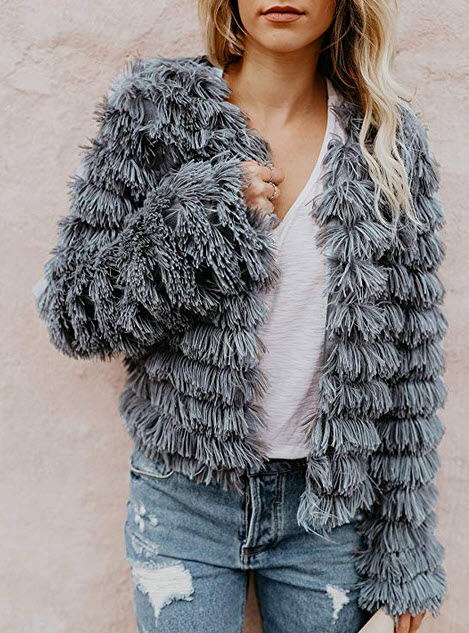 Inorin Womens Open Front Cardigan Faux Fur Coat Vintage Parka Shaggy Jacket Warm Coat Tops gray