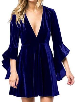 Inorin Womens Velvet Skater Dress Deep V Neck Bell Sleeve Sexy Swing Dress Party Gown, blue