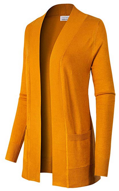 Instar Mode Womens Open Front Long Sleeve Knit Cardigan Sweater with Pocket mustard