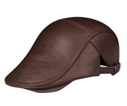 Insun Men's Vintage Genuine Leather Newsboy Cap with Adjustable Buckle