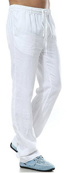 Insun Men's Drawsting Waist Straight Leg Light Weight Linen Pants .