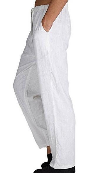 Insun Men's Solid Big and Tall Linen Drawstring Elastic Waist Pants .