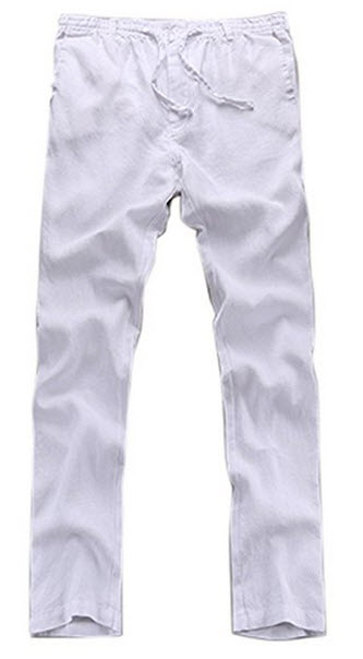 Insun Men's Solid Drawstring Waistband Slim Fit Thin Linen Pants .