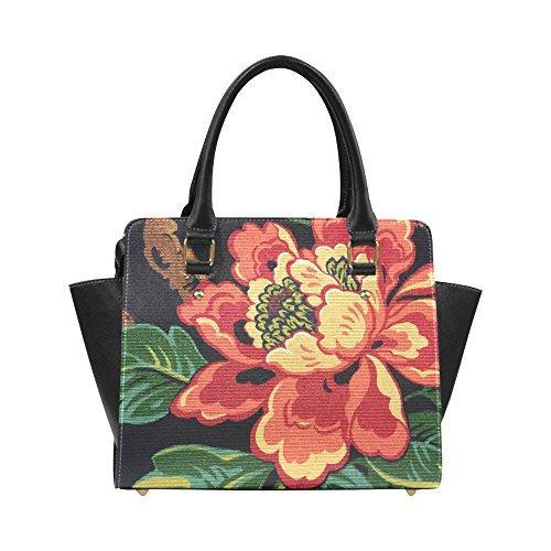 Interestprint Custom Jacobean Floral Ottoman Fabric Classic Women Top Handbag Shoulder Bag