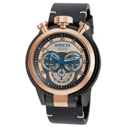 Invicta Men's I-Force Black Leather Band Steel Case Quartz Rose Gold-Tone Dial Analog Watc ...
