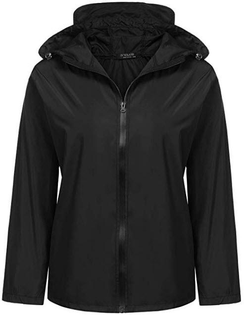 IN'VOLAND Women Plus Size Rain Jacket Waterproof Packable Lightweight Hooded Windbreaker