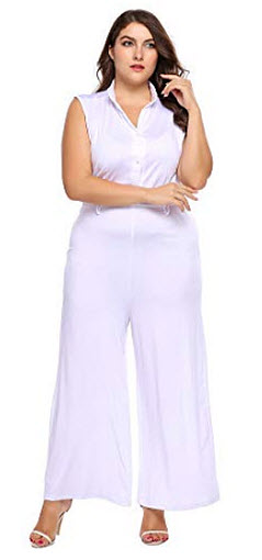 IN'VOLAND Women Plus Size V-Neck Sleeveless Wide Leg Jumpsuit, white