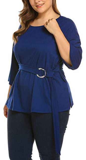 IN'VOLAND Women's Plus Size 3/4 Sleeve Blouse Shirt O Neck Tee Top Keyhole Belt  navy blue