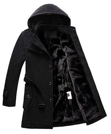 iPretty Men Winter Classic Trench Jacket Warm Wool Blend Pea Coats with Belt.