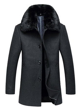 iPretty Men winter Warm Jacket Thick Single Breasted Wool Blend Pea Coat