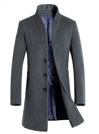iPretty Men's Trench Coat Winter Long Jacket Single Breasted Overcoat.
