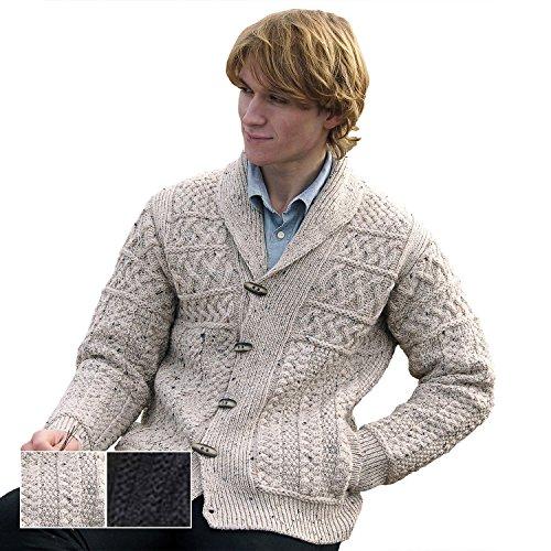 100% Irish Merino Wool Mens Aran Shawl Collar Sweater by West End Knitwear by The Irish Store