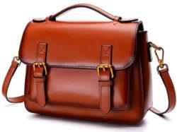 Iswee Women Leather Handbag Fashion Cross Body Bag Designer Purse Shoulder Bag, brown
