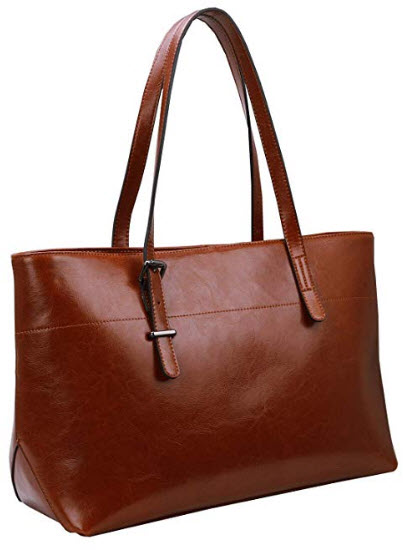 Iswee Womens Leather Shoulder Handbag Tote Bag, brown