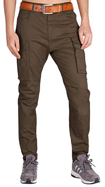 ITALY MORN Men's Cargo Pants Athletic Fit Big Bellows Pockets coffee