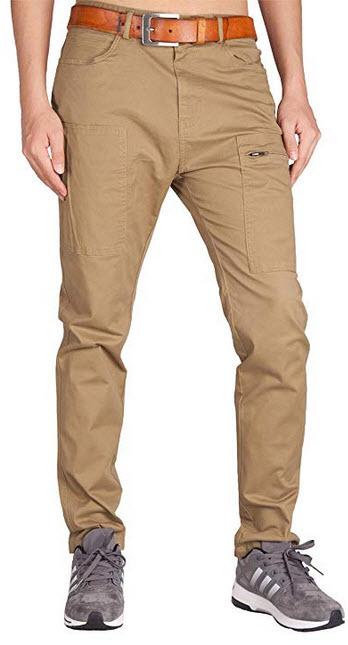ITALY MORN Men's Flat Front Chino Pants Fashion-Forward Stretch Pants dark khaki